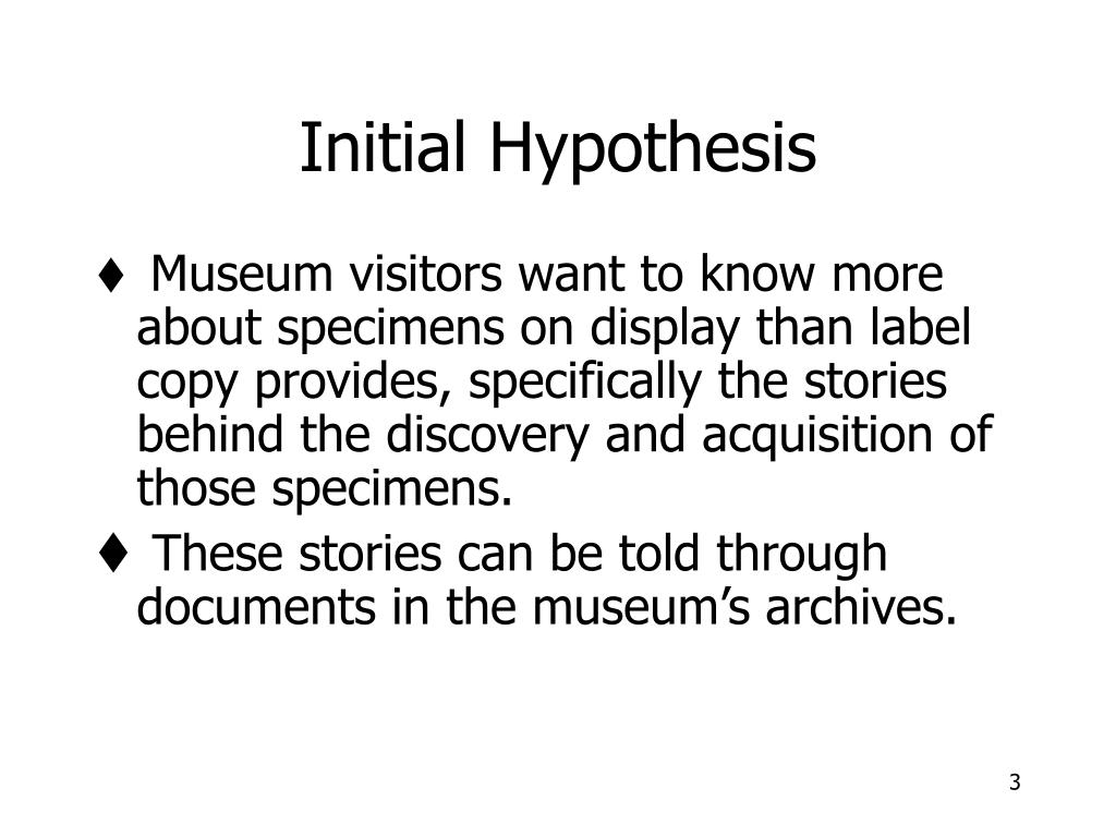 Initial Hypothesis