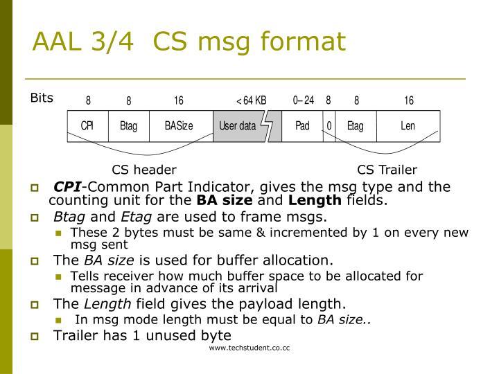 AAL 3/4  CS msg format