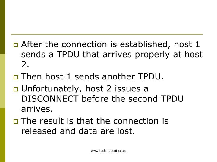 After the connection is established, host 1 sends a TPDU that arrives properly at host 2.