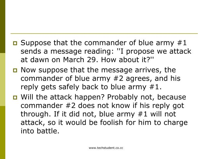 Suppose that the commander of blue army #1 sends a message reading: ''I propose we attack at dawn on March 29. How about it?''