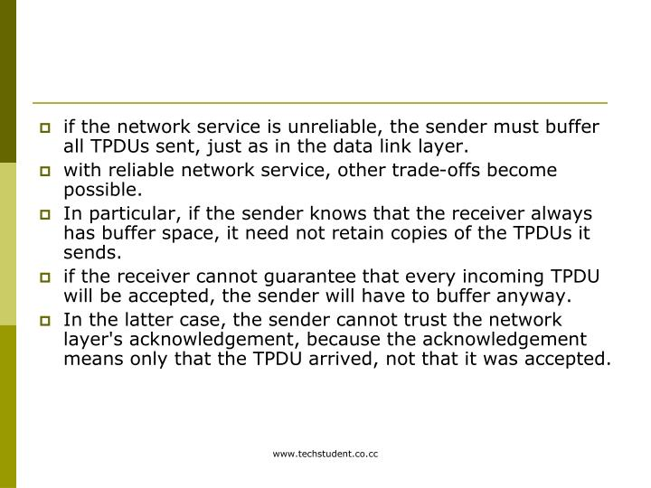 if the network service is unreliable, the sender must buffer all TPDUs sent, just as in the data link layer.