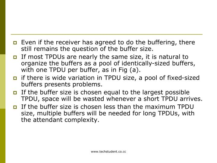 Even if the receiver has agreed to do the buffering, there still remains the question of the buffer size.