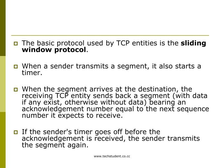 The basic protocol used by TCP entities is the