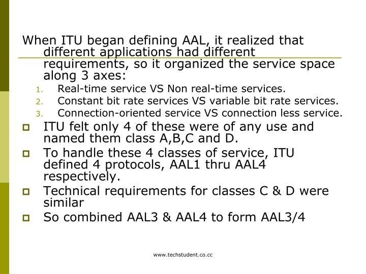 When ITU began defining AAL, it realized that different applications had different requirements, so it organized the service space along 3 axes: