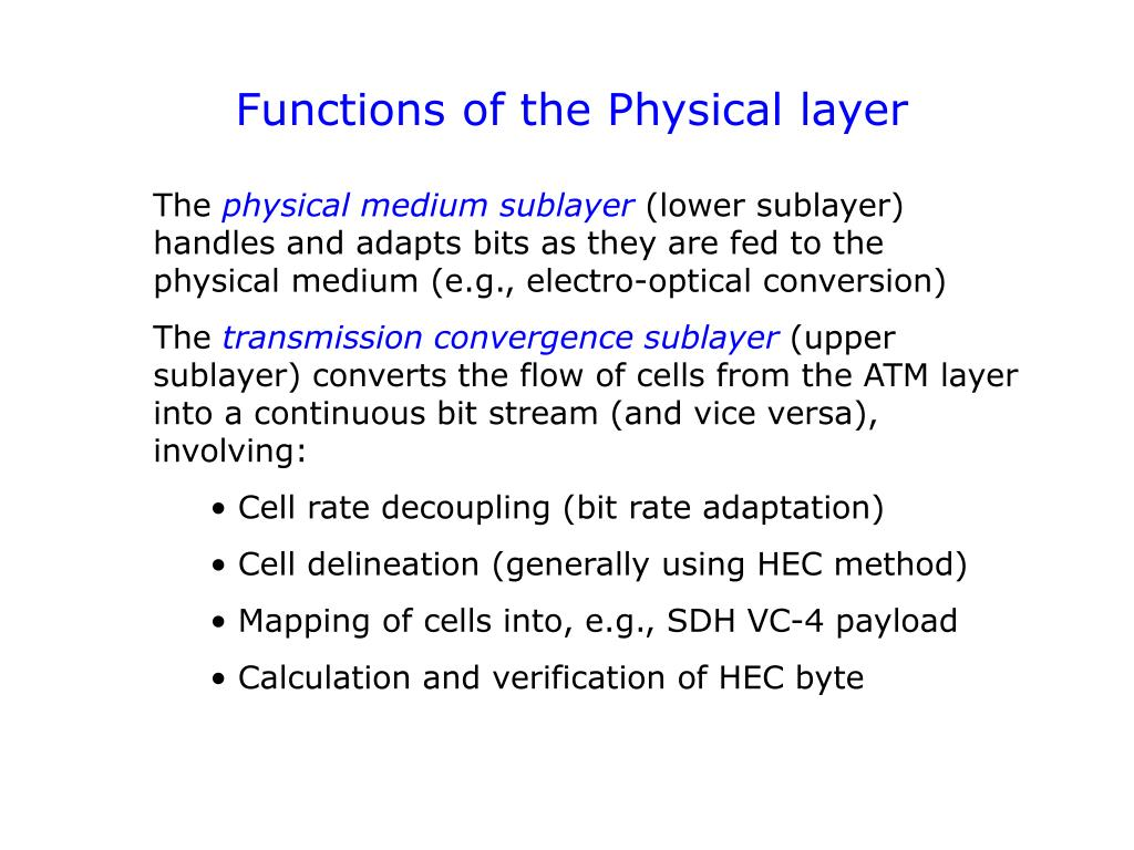 Functions of the Physical layer