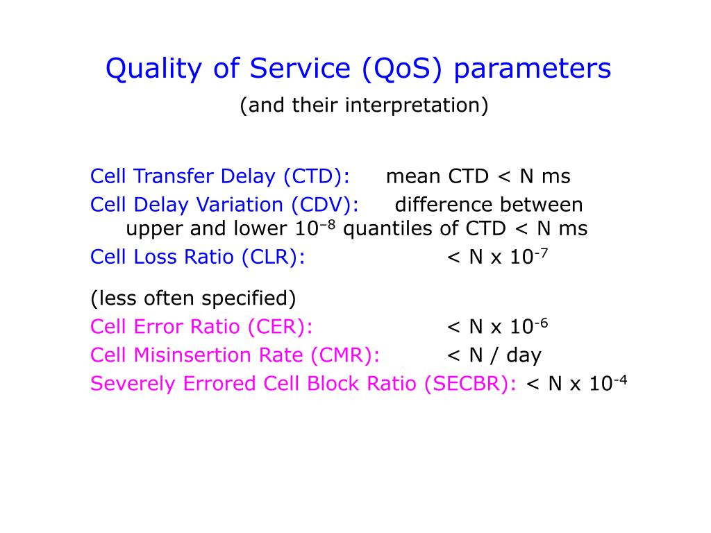 Quality of Service (QoS) parameters