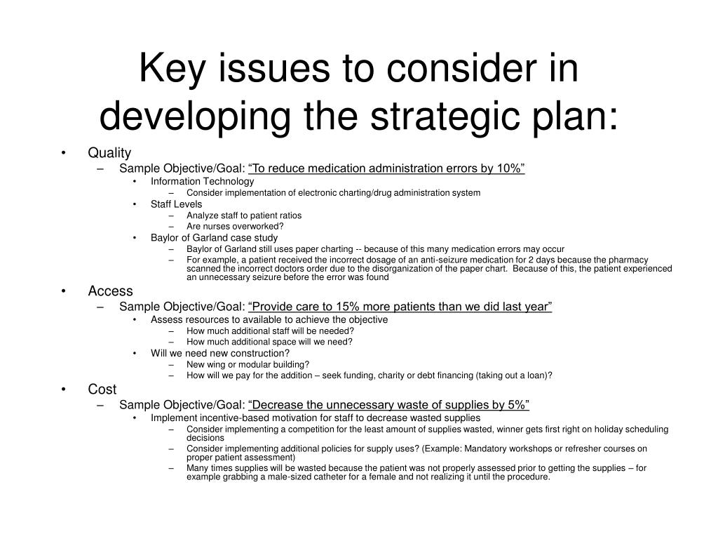 Key issues to consider in developing the strategic plan: