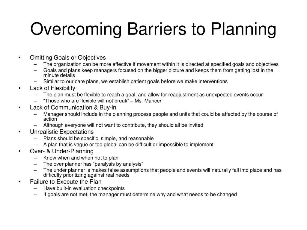 Overcoming Barriers to Planning