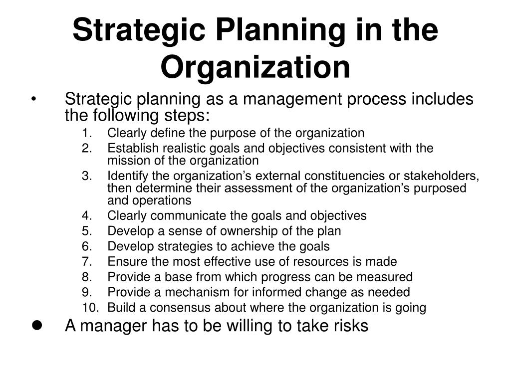Strategic Planning in the Organization