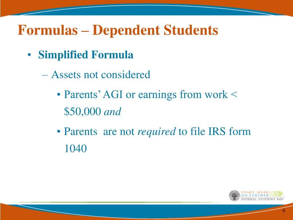 Formulas – Dependent Students