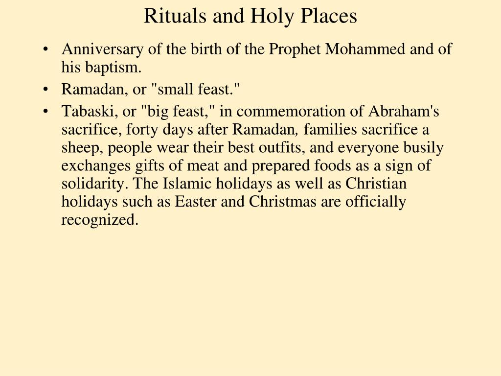 Rituals and Holy Places