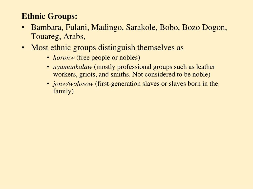 Ethnic Groups: