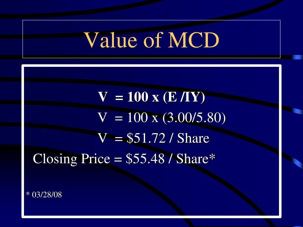 Value of MCD