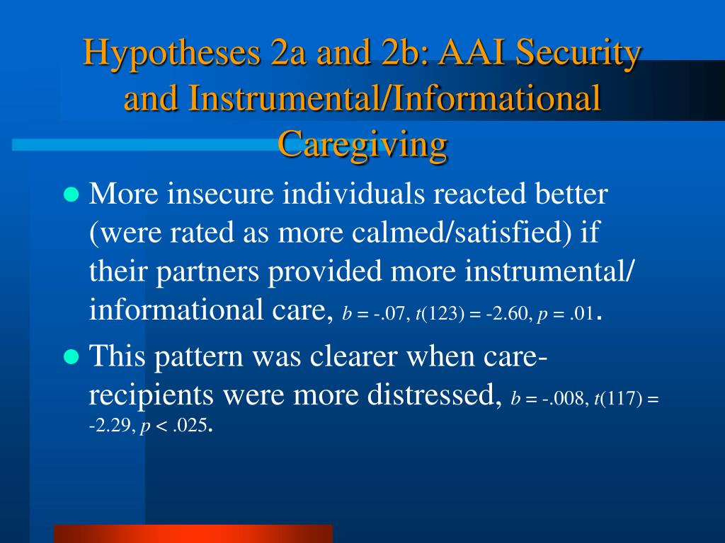 Hypotheses 2a and 2b: AAI Security and Instrumental/Informational  Caregiving