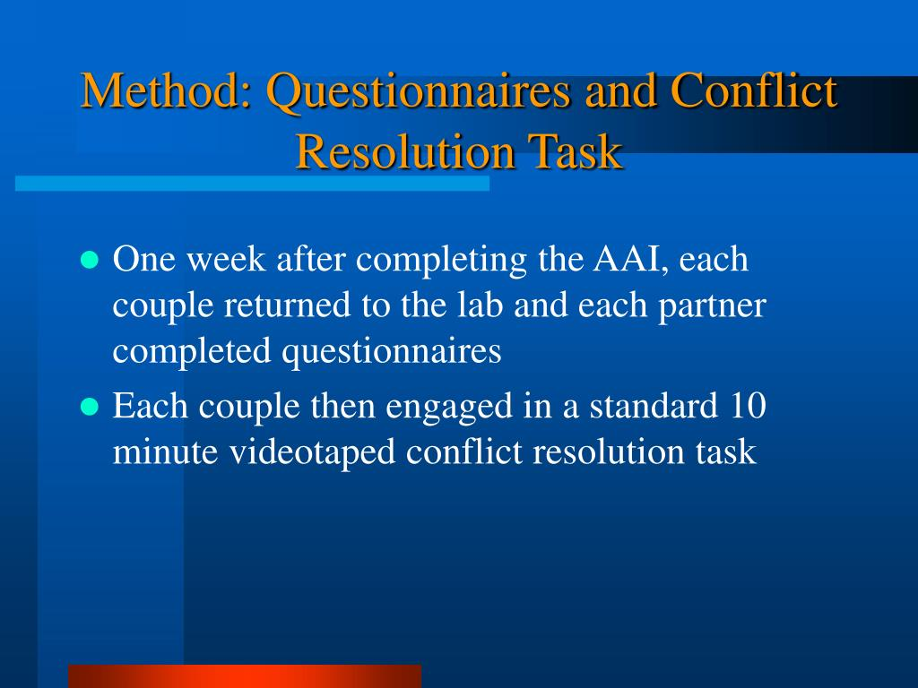 Method: Questionnaires and Conflict Resolution Task