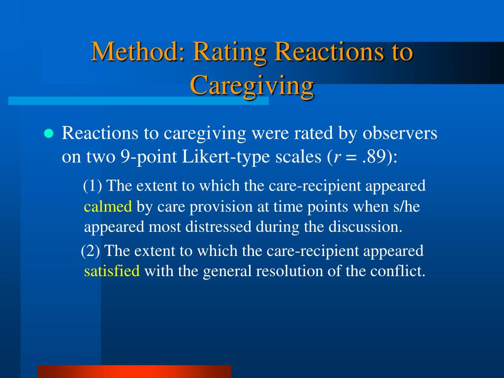 Method: Rating Reactions to Caregiving
