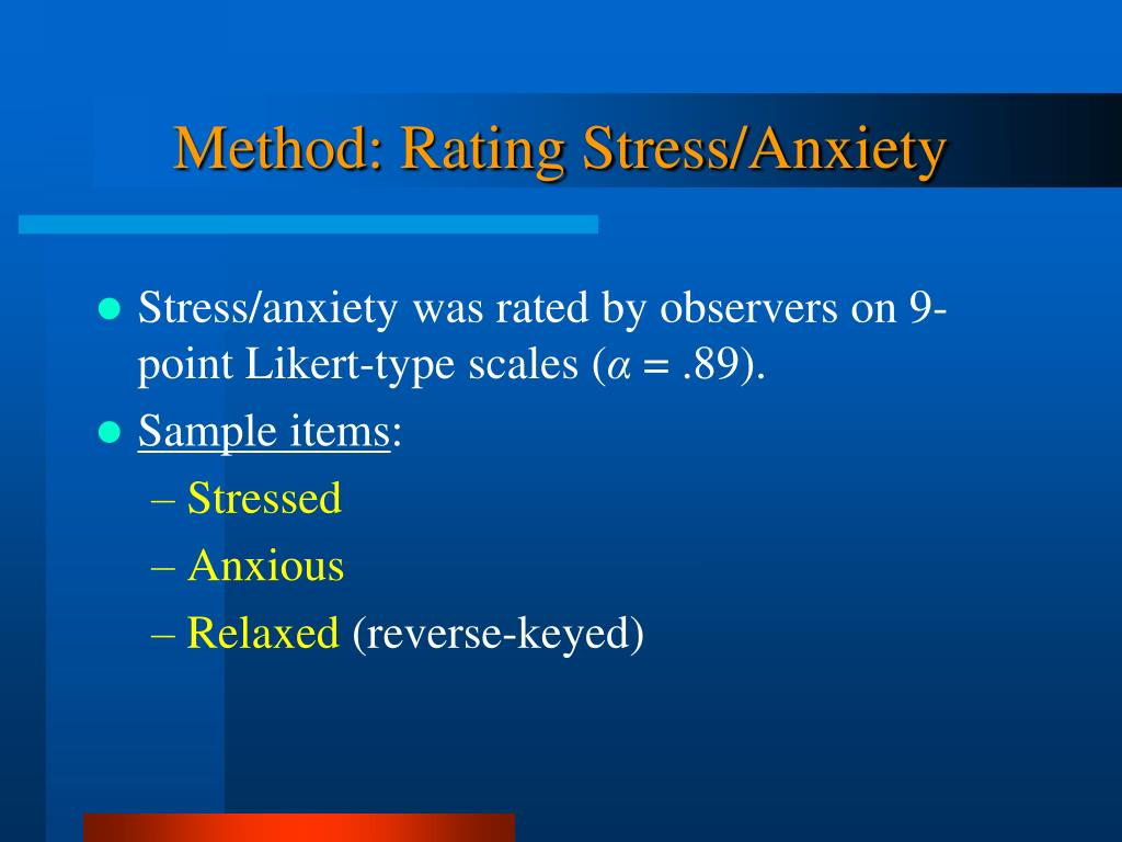 Method: Rating Stress/Anxiety