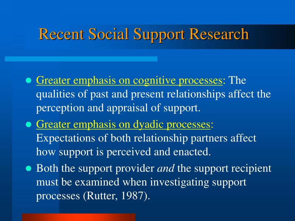 Recent Social Support Research