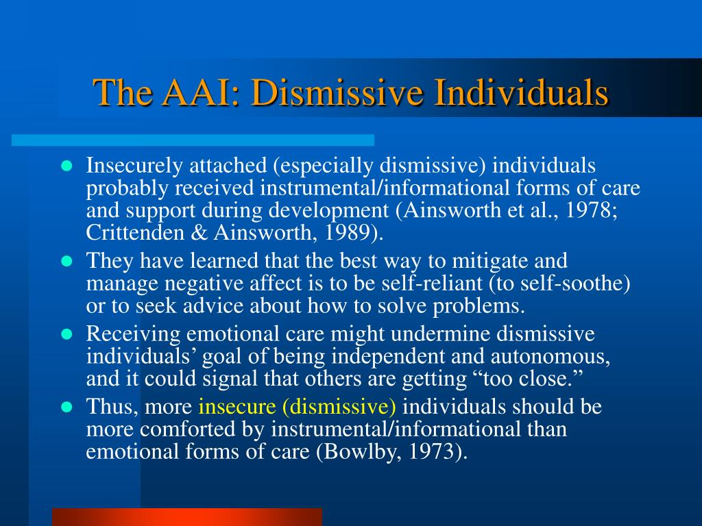 The AAI: Dismissive Individuals