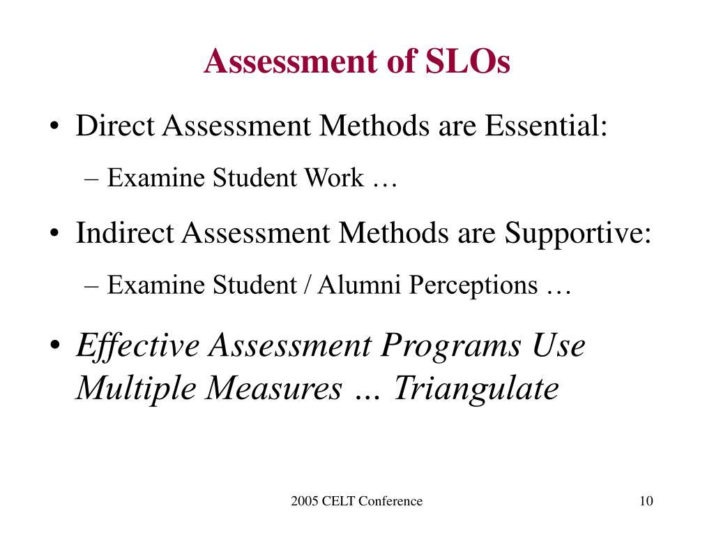 Assessment of SLOs