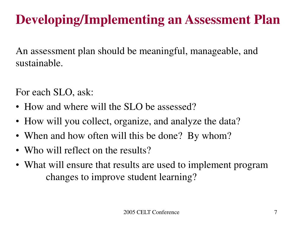 Developing/Implementing an Assessment Plan