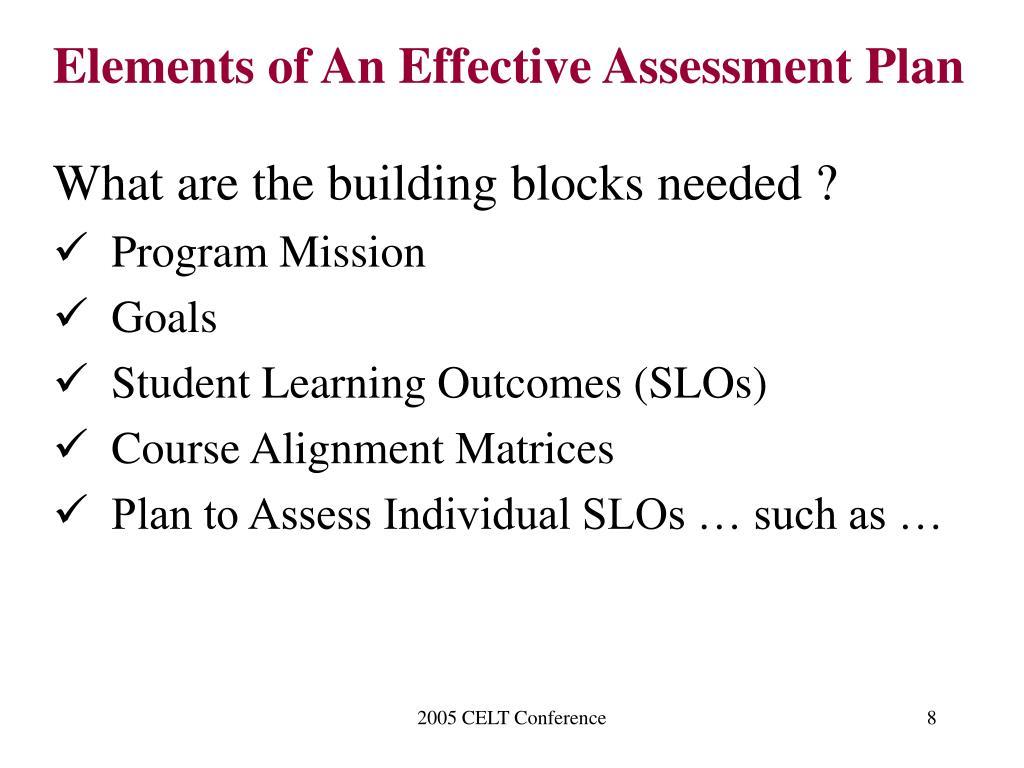 Elements of An Effective Assessment Plan
