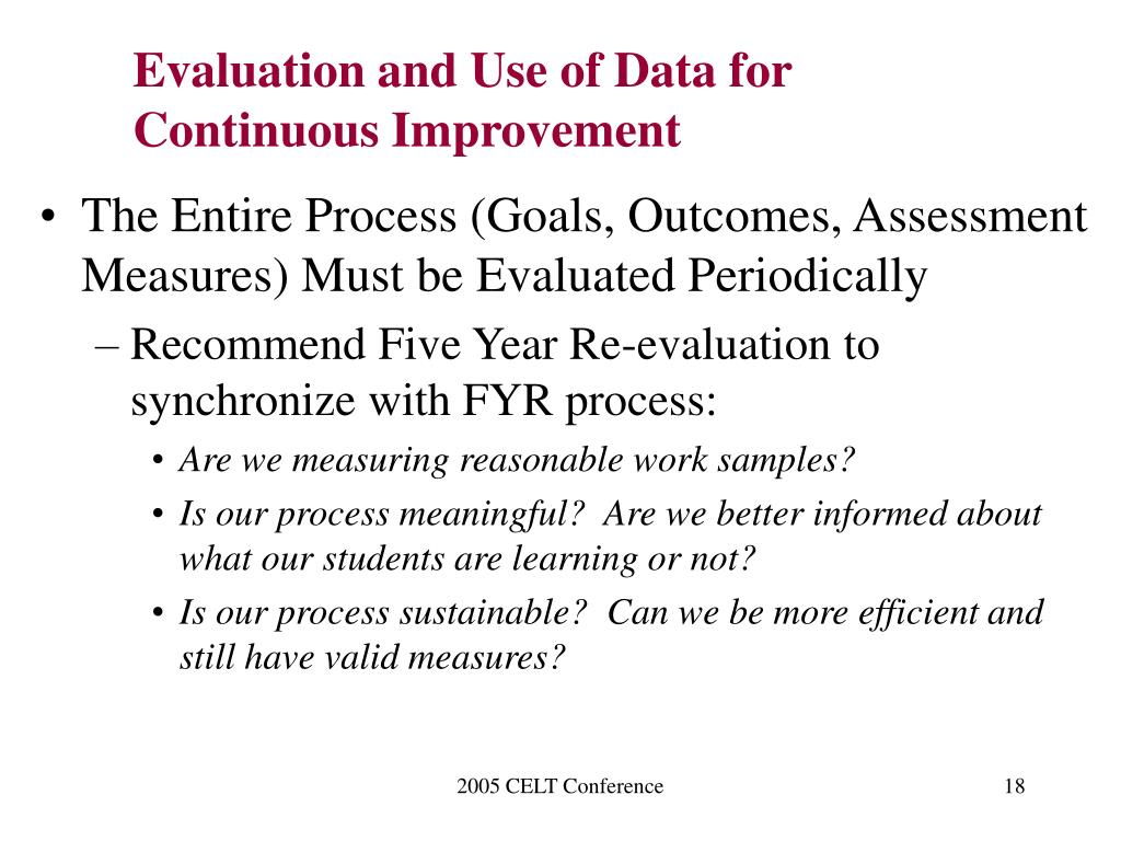 Evaluation and Use of Data for Continuous Improvement