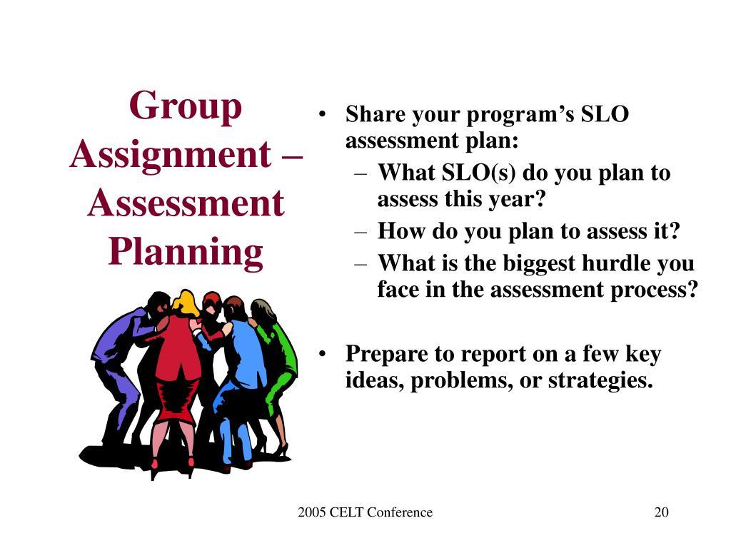Group Assignment – Assessment Planning