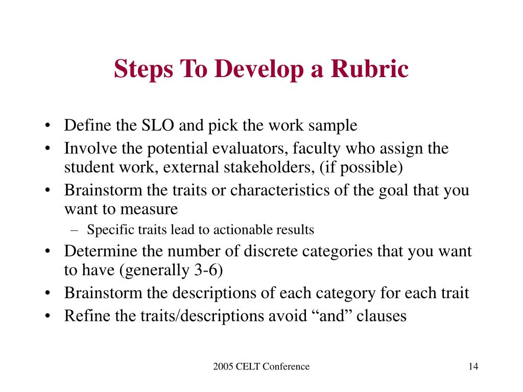 Steps To Develop a Rubric