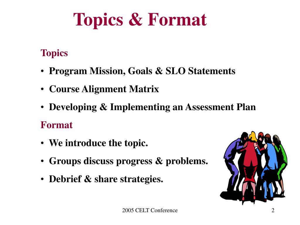 Topics & Format