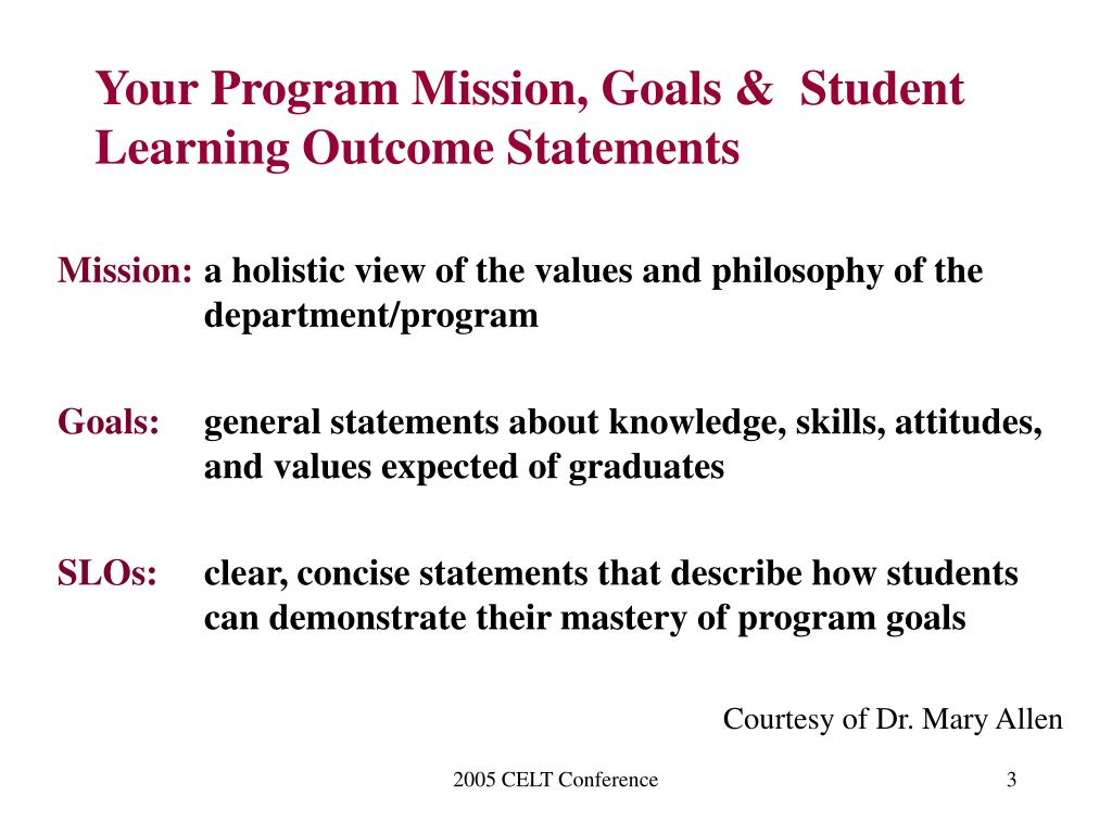 Your Program Mission, Goals &  Student Learning Outcome Statements