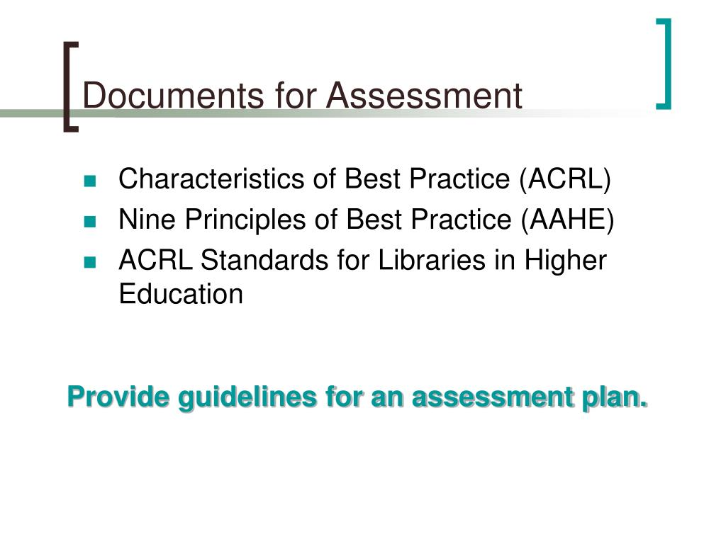 Documents for Assessment