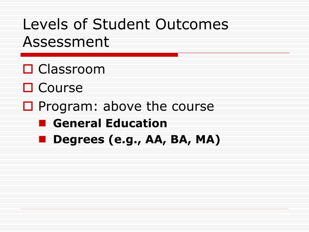 Levels of Student Outcomes Assessment
