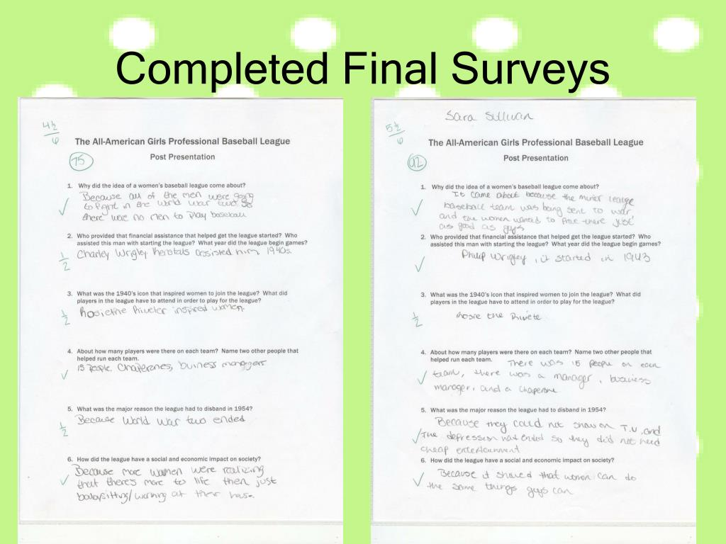 Completed Final Surveys