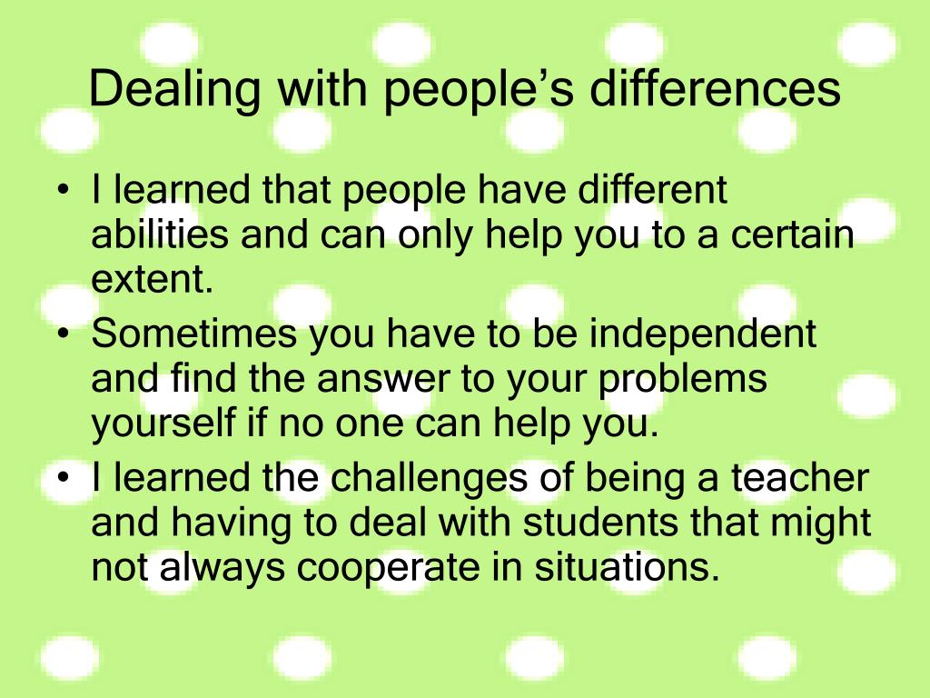 Dealing with people's differences