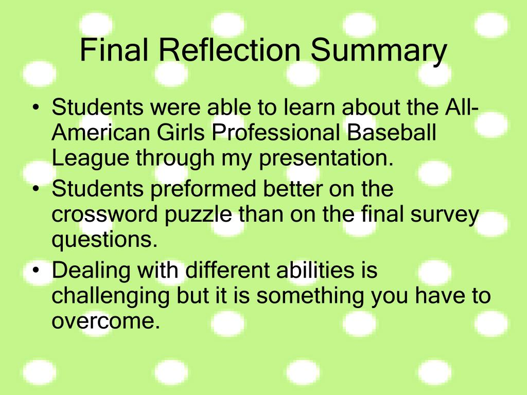 Students were able to learn about the All-American Girls Professional Baseball League through my presentation.