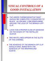 visual controls of a good installation
