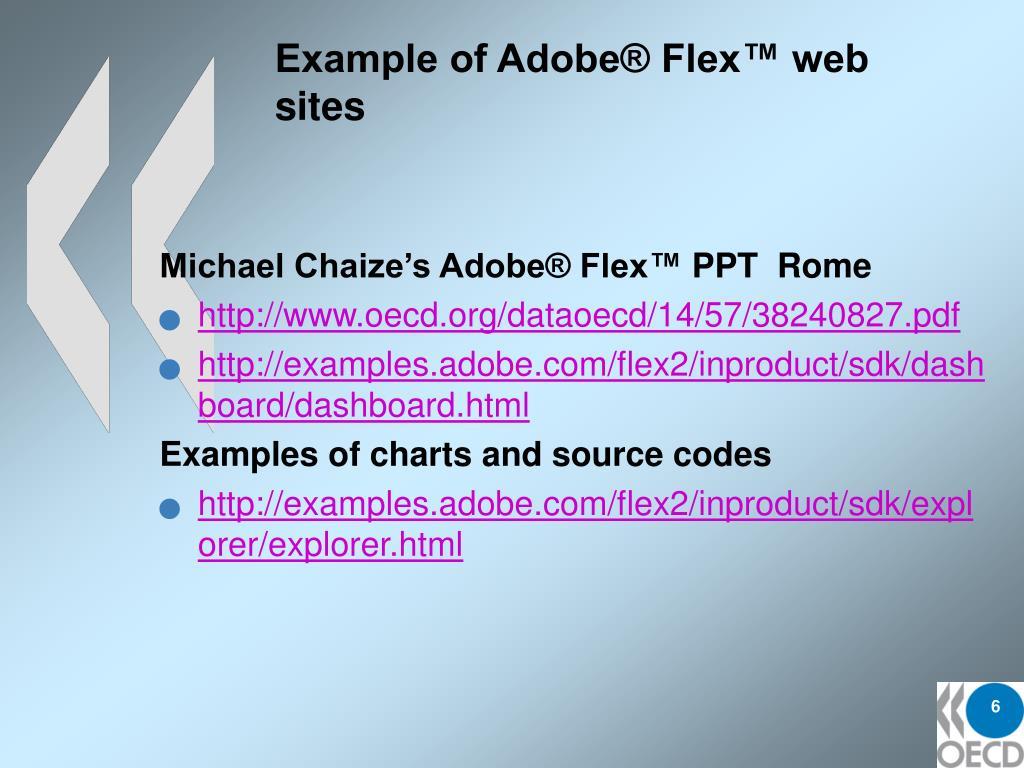 Example of Adobe® Flex™ web sites