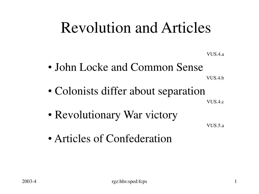 revolution and articles