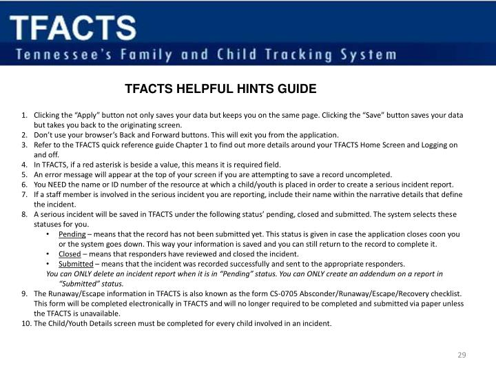 TFACTS HELPFUL HINTS GUIDE