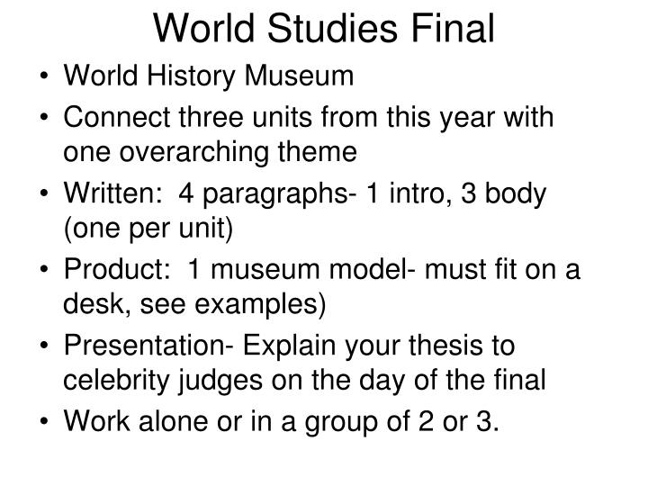World studies final