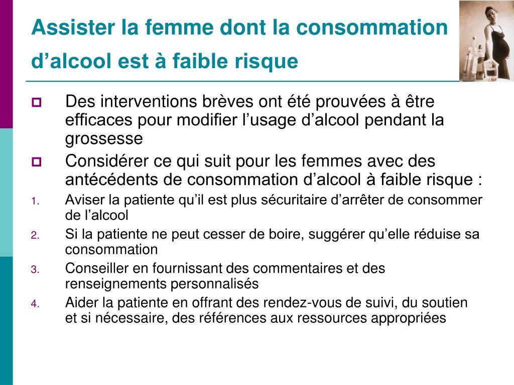 Assister la femme dont la consommation d'alcool est à faible risque