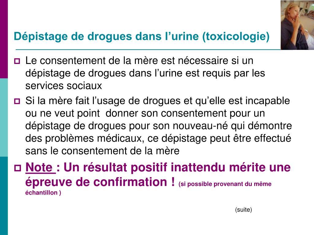 Dépistage de drogues dans l'urine (toxicologie)