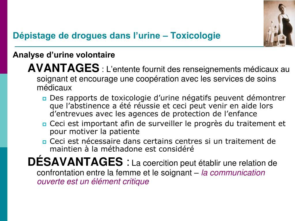 Dépistage de drogues dans l'urine – Toxicologie