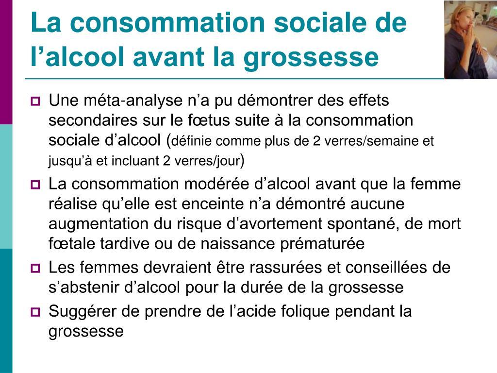 La consommation sociale de l'alcool avant la grossesse