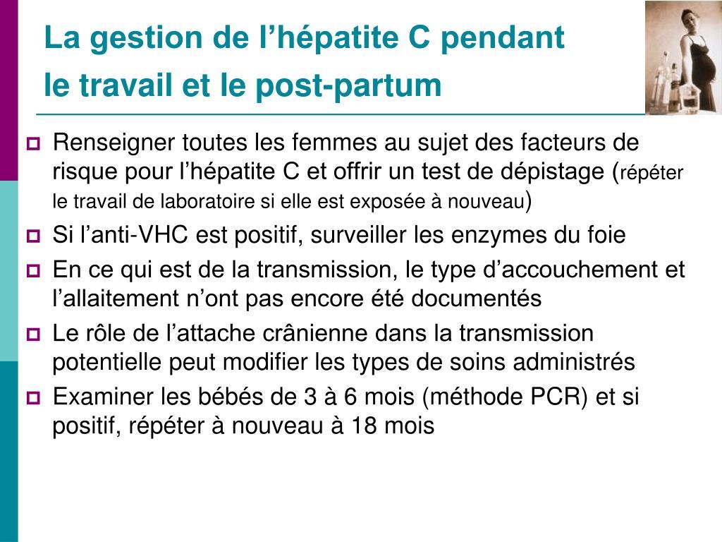 La gestion de l'hépatite C pendant