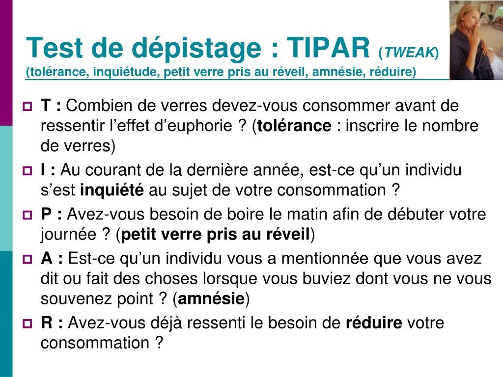 Test de dépistage: TIPAR