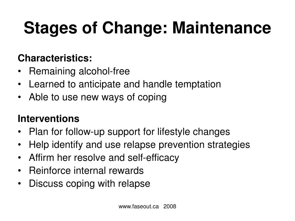 Stages of Change: Maintenance