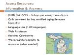 access resources information answers