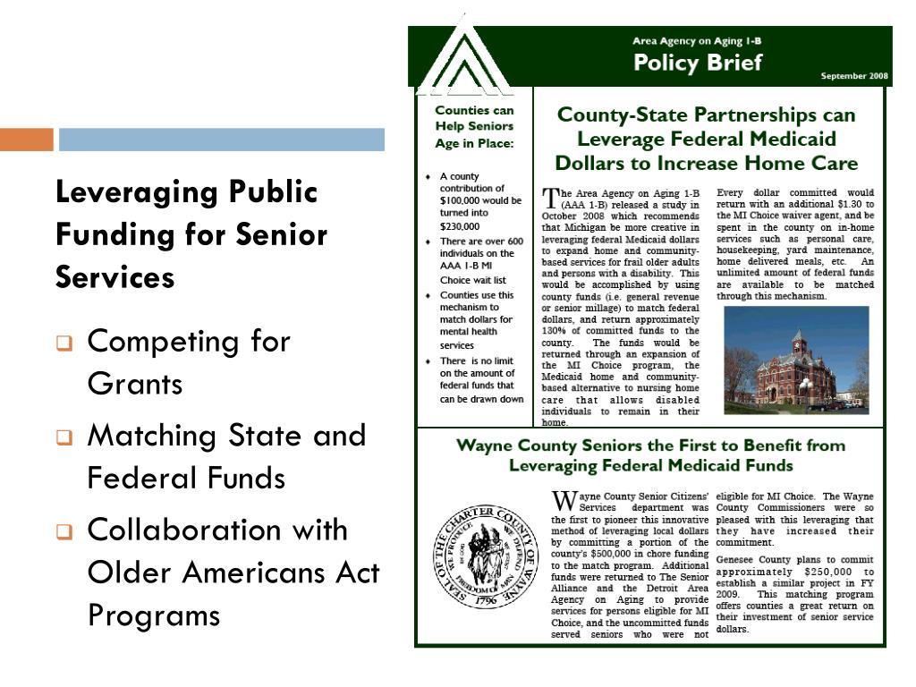 Leveraging Public Funding for Senior Services